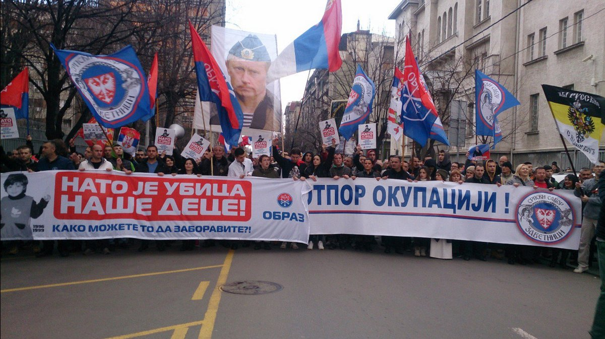 Serbs protest against government's plans to deepen relations with NATO, February 2016