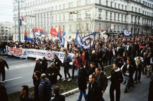 Anti-NATO march in Belgrade, February 2016