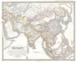 1844 Spruneri Map of Asia in the 15th and 16th Centuries