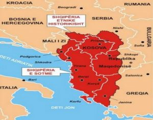 Modern map of the Albanian territorial claims