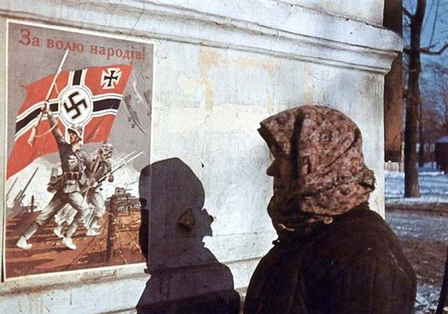 "Nazi propaganda placard ""For the will of people!"" on a Kiev's street, 1941."