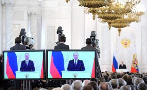 Vladimir Putin delivering State of the Union address, Dec 12, 2013