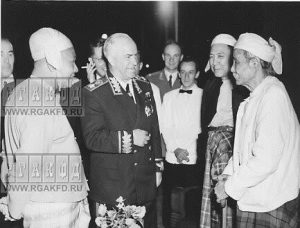 Soviet Marshall Georgiy Zhukov and Burmanese PM U Nu (left) talk to the members of parliament of Burma in Rangoon, February 1957.