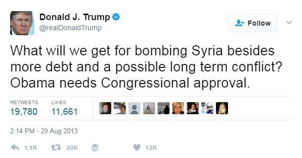 Trump twit on Syria, Aug 29, 2013
