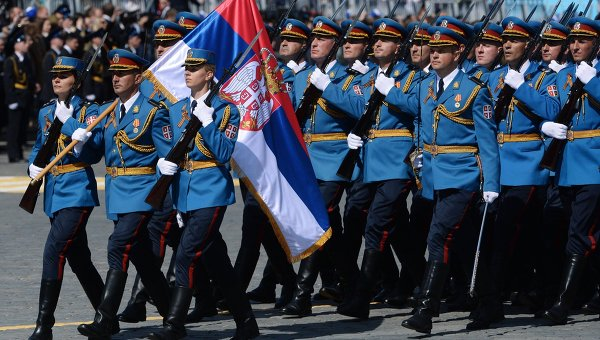 Serbian military participating in 2015 Victory Parade in Moscow
