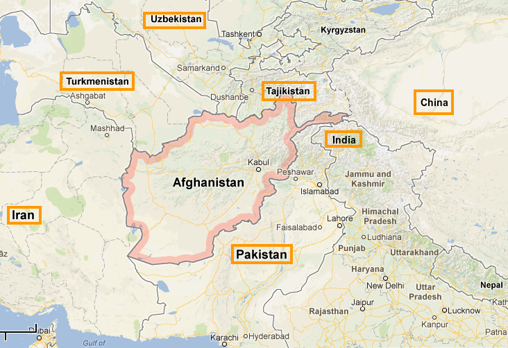 Afghanistan and neighboring countries.