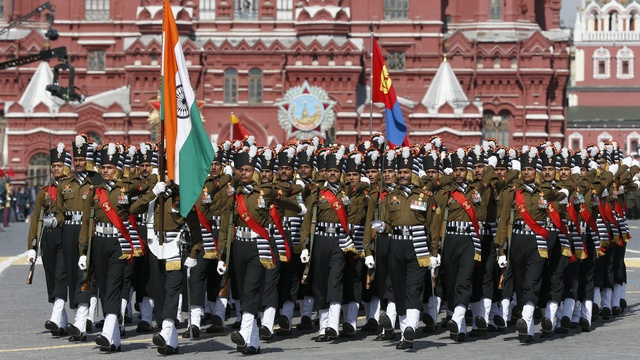 Indian grenadiers march during the Victory Day parade at Red Square in Moscow, May 2015