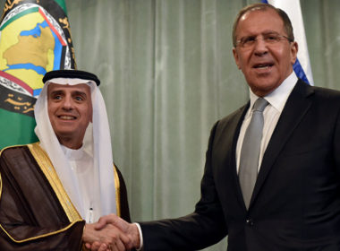 Russian FM Sergey Lavrov greeting his Saudi counterpart in Moscow, June 2016