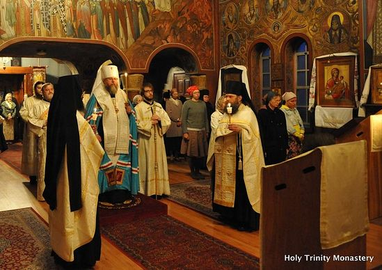 An Orthodox  service in the Holy Trinity Monastery (Jordanville, New York)