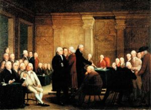 Robert Edge Pine, The Congress Voting Independence, circa 1785, completed by Edward Savage in 1790.