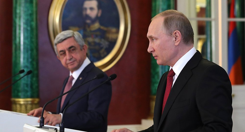 Russian and Armenian presidents after talks in Moscow, March 2017