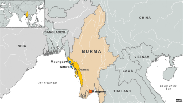Rakhine State marked in yellow.