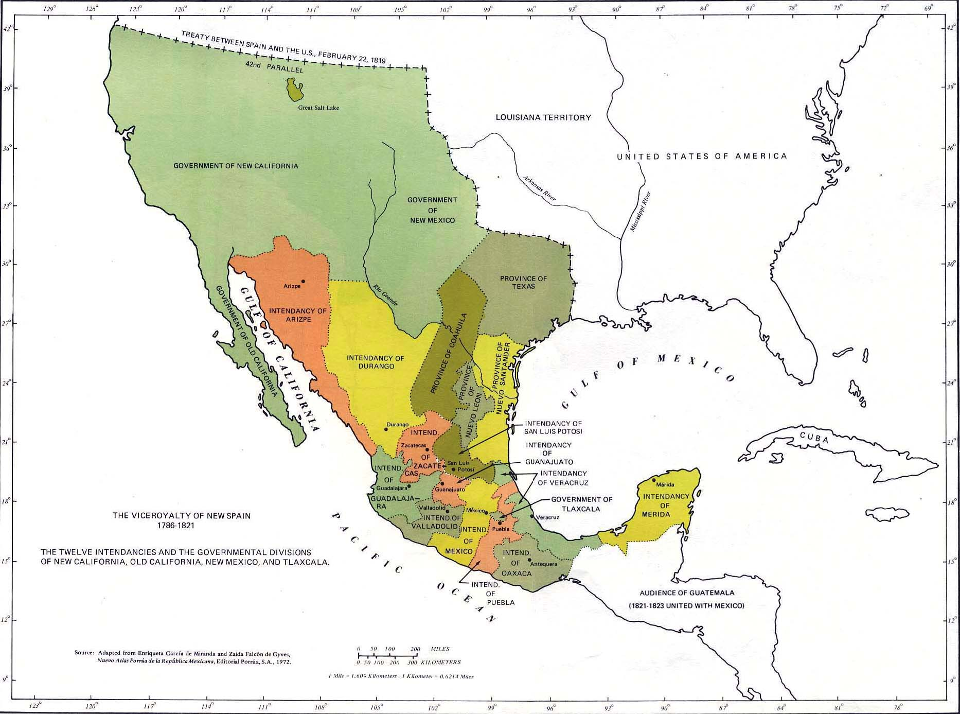 Map of Mexico - The Viceroyalty of New Spain, 1786-1821