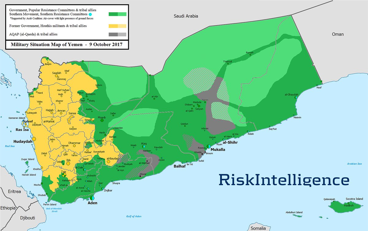 Yemen War map Oct 9 2017