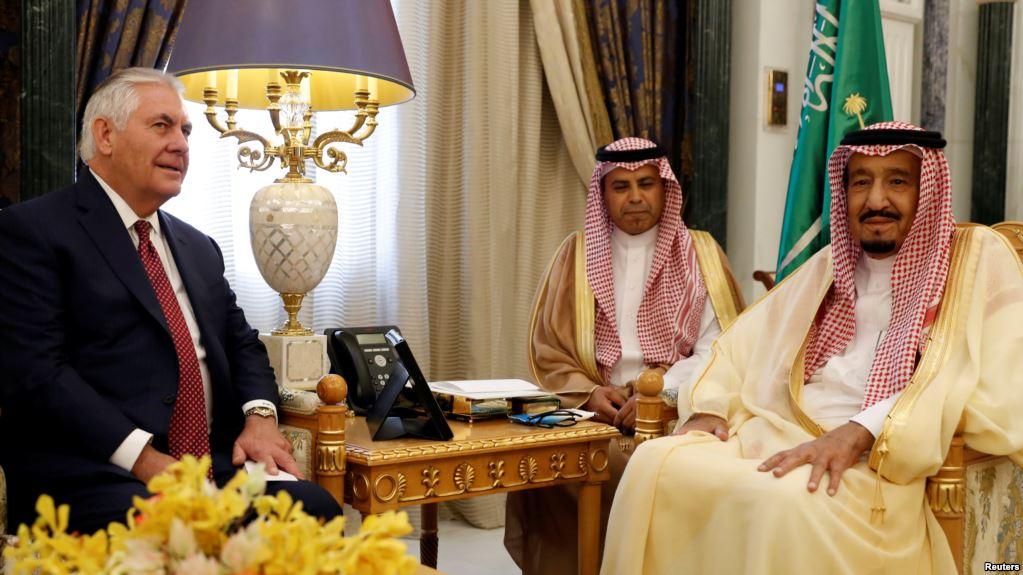 U.S. Secretary of State Rex Tillerson and Saudi King Salman speak before their meeting in Riyadh, Saudi Arabia, Oct. 22, 2017.