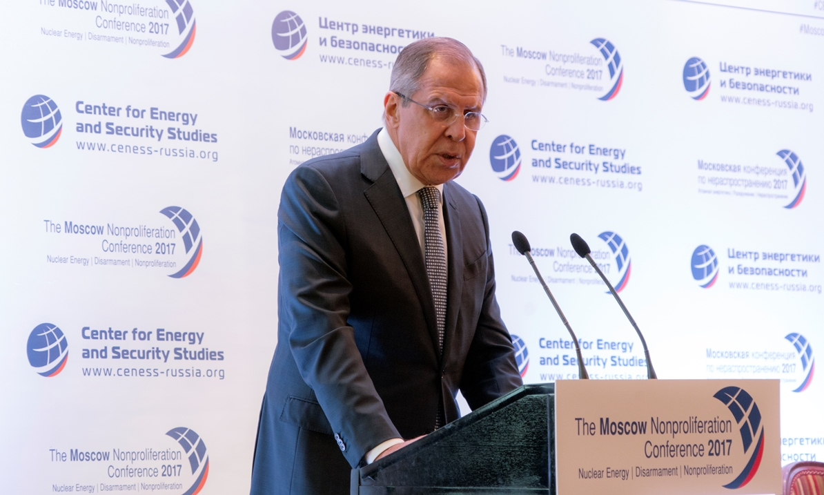 Russian Foreign Minister Sergey Lavrov speaking at the 2017 Moscow Non-Proliferation Conference