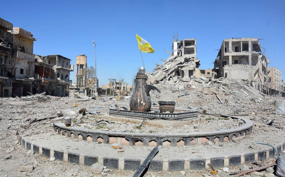 Naim Square roundabout following the liberation of Raqqa, Syria, Oct. 18