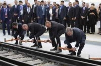 Baku : Turkey's President Recep Tayyip Erdogan, 2nd left, Azerbaijan's President Ilham Aliyev, 2nd right and Georgia's Prime Minister Giorgi Kvirikashvili, right, inaugurate the Baku-Tbilisi-Kars railway, at a ceremony in Baku, Azerbaijan, Monday, Oct. 30, 2017. The leaders of Azerbaijan, Georgia and Turkey inaugurated the railway line linking the Azerbaijani capital to Georgia's capital Tbilisi and to the city of Kars, in eastern Turkey.