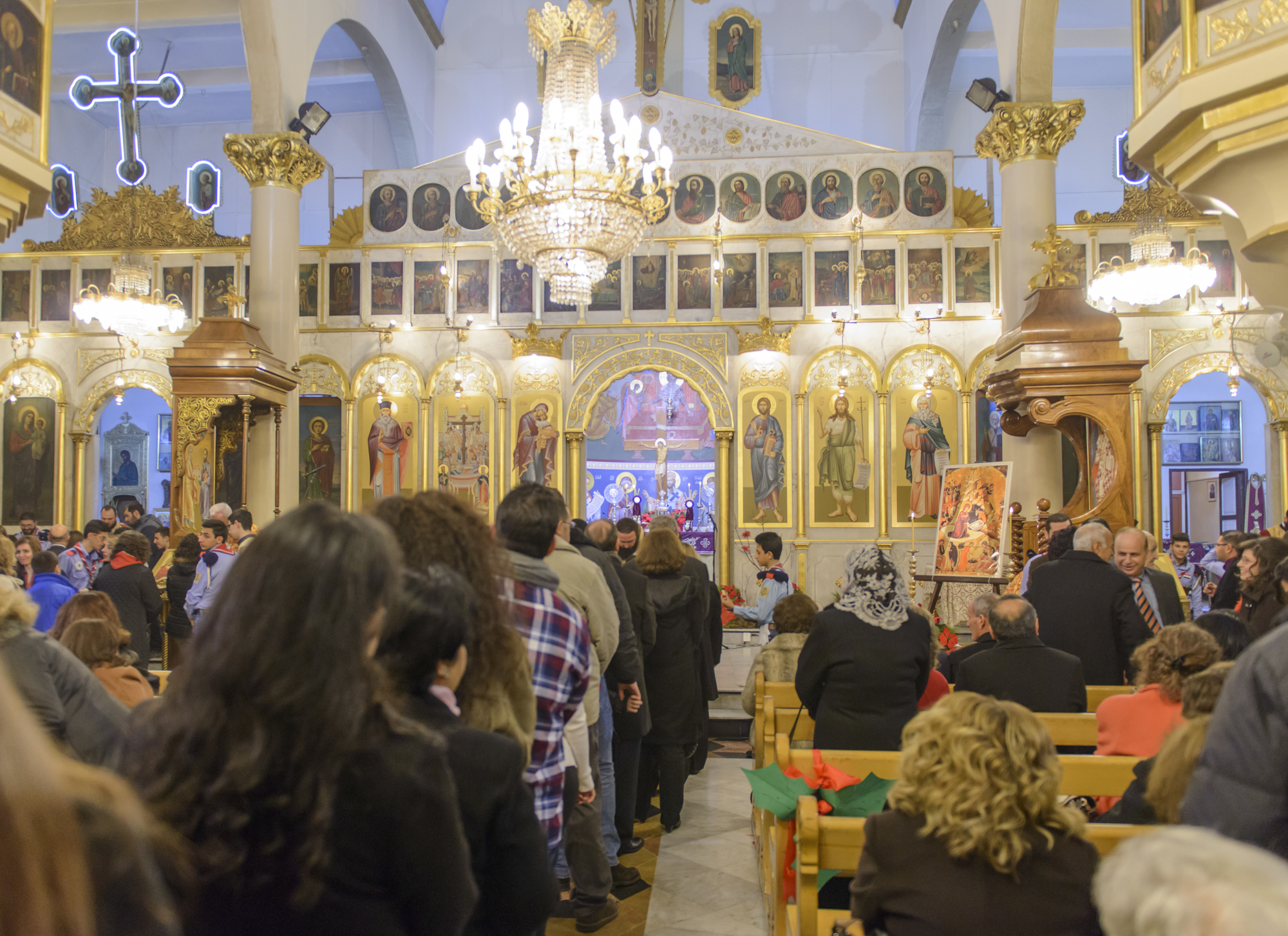 Christmas service in an Antiochia cathedral in Damascus, Syria.