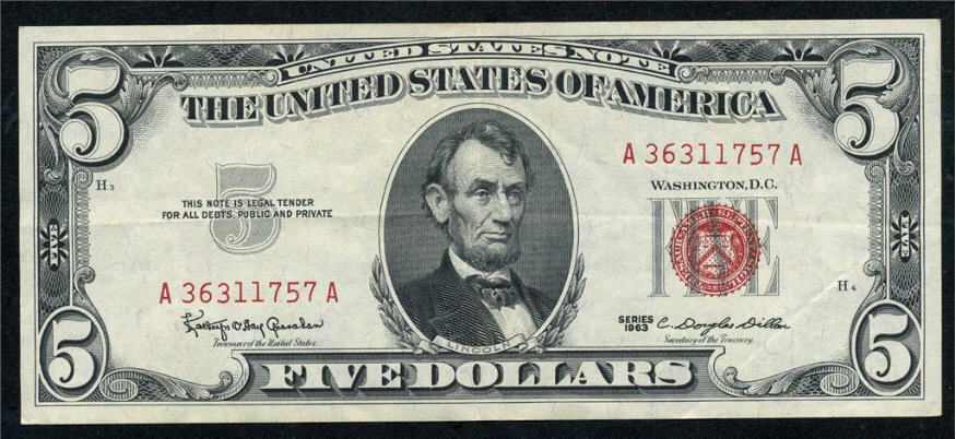 United States Note 1963 5 dollars