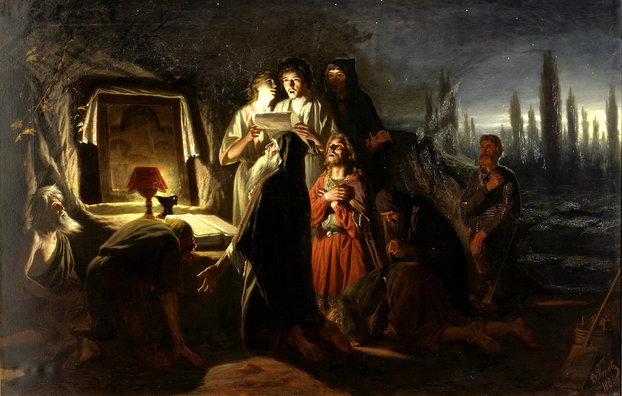 """Vasily Perov """"First Christians in Kiev"""" (painting 1880)"""