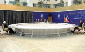 Trilateral meeting of Vladimir Putin, President of Iran Hassan Rouhani and President of Azerbaijan Ilham Aliyev.