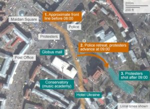 Map of the Maidan square in Kiev and surrounding buildings