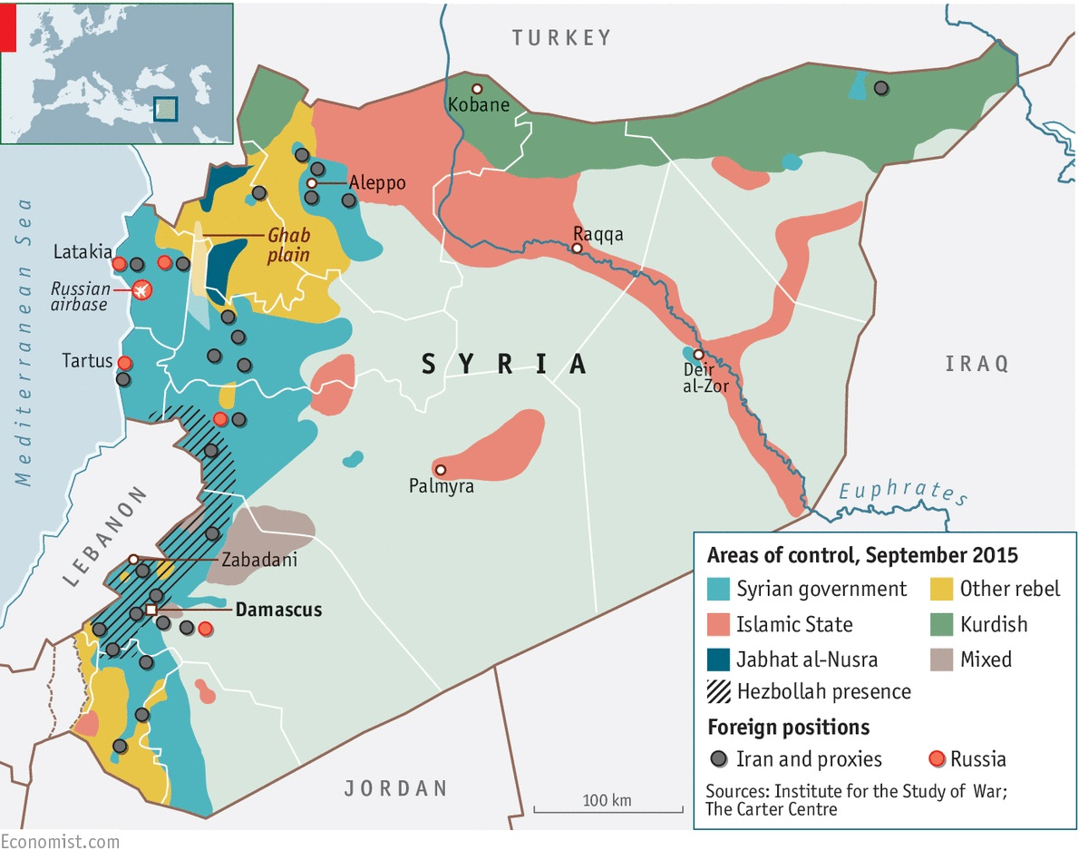 Areas of control in Syria in September 2015