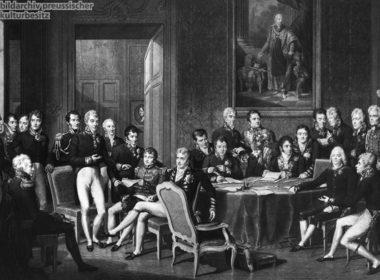 """""""Der Wiener Kongreß unter der Leitung des Fürsten Clemens von Metternich"""", nach einem Gemälde von Jean Baptiste Isabey.; Lithografie"""