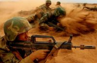 Chinese army in a desert