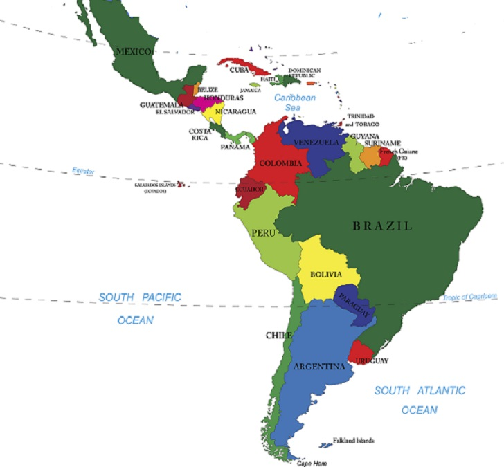 Detailed map of North and South America.