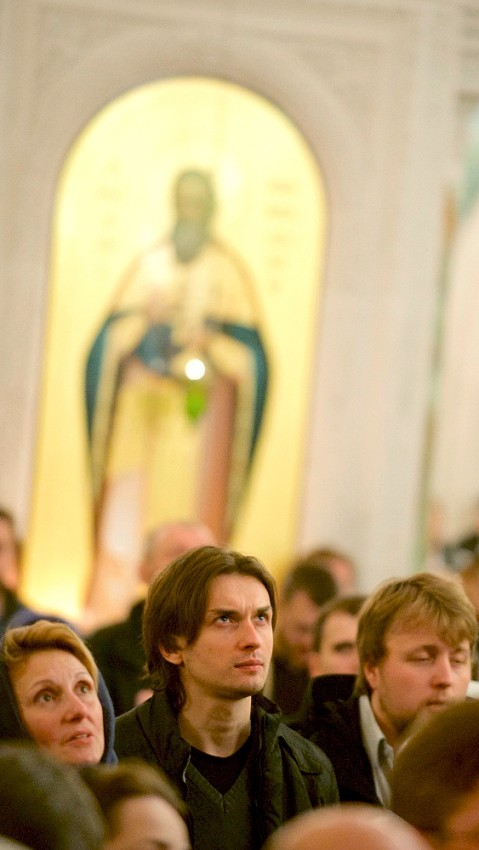 During the New Year night liturgy at the Cathedral of the New Martyrs and Confessors of the Russian Orthodox Church in Moscow.