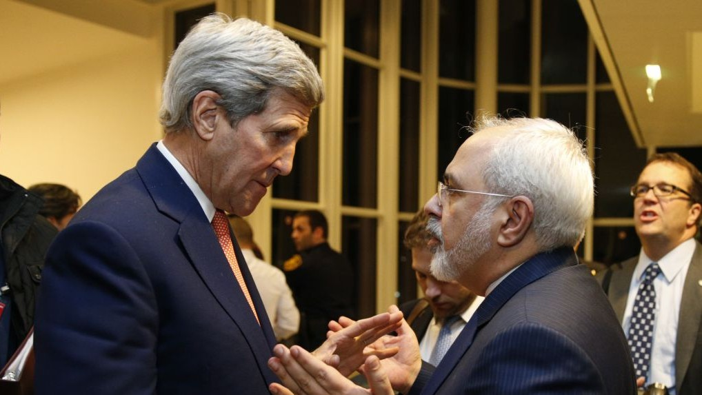 "Then US Secretary of State John Kerry and Iranian Foreign Minister Mohammad Javad crafting out ""Iran Deal"" in 2016."