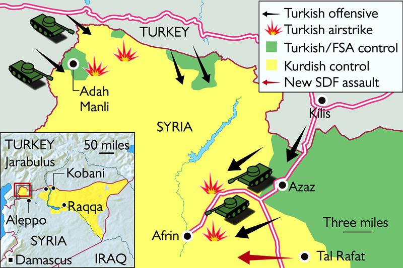 Turkish Olive Branch Accelerates The US To Intensify Border - Map of syria and turkey