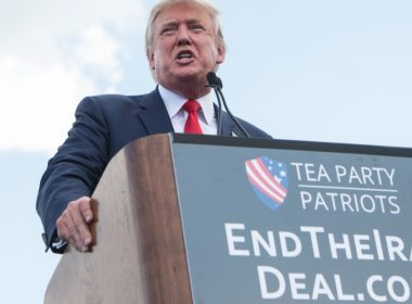 US Republican presidential candidate Donald Trump speaks at a rally organized by the Tea Party Patriots against the Iran nuclear deal in front of the Capitol in Washington, DC, on September 9, 2015