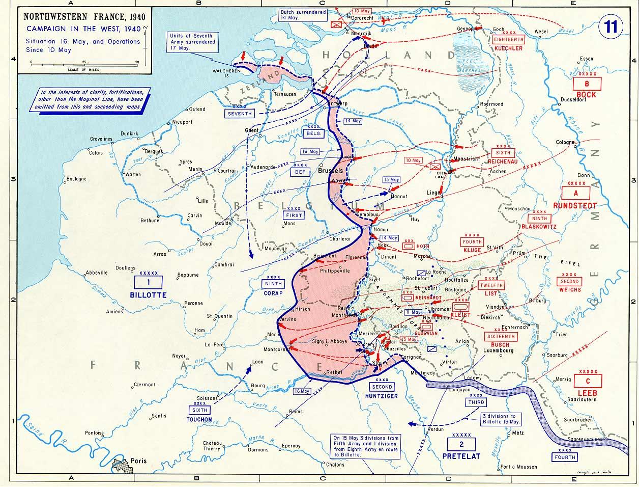 France-Nazi Germany war campaign map, May 10-16 May 1940