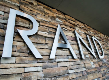 Flagstone accents at the new headquarters for RAND Corporation.