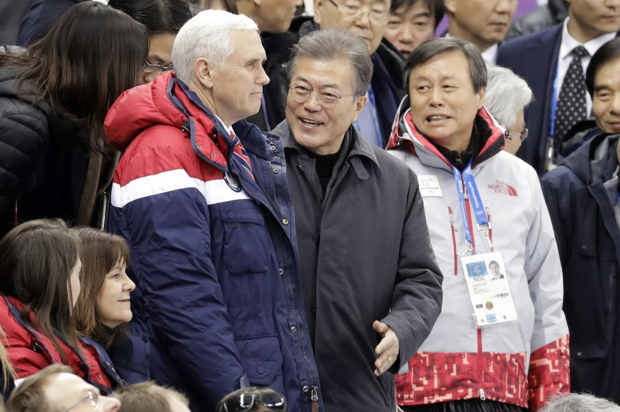 US Vice President Mike Pence and South Korean President Moon Jae in attend the ladies' 500 meters short-track speedskating in the Gangneung Ice Arena at the 2018 Winter Olympics, South Korea, Feb. 10, 2018