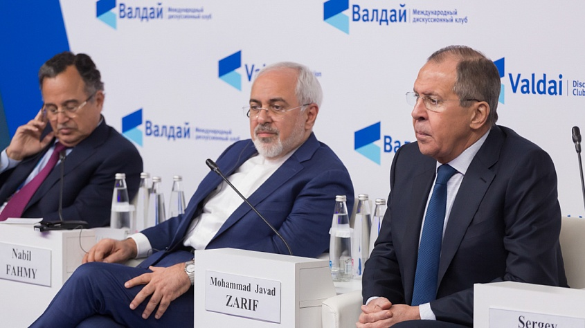 The top diplomats Nabil FAHMY (Egypt), Mohammad Javad ZARIF (Iran) and  Sergey LAVROV (Russia) at the Middle East conference of Valdai Discussion Club, Moscow, Feb 2018