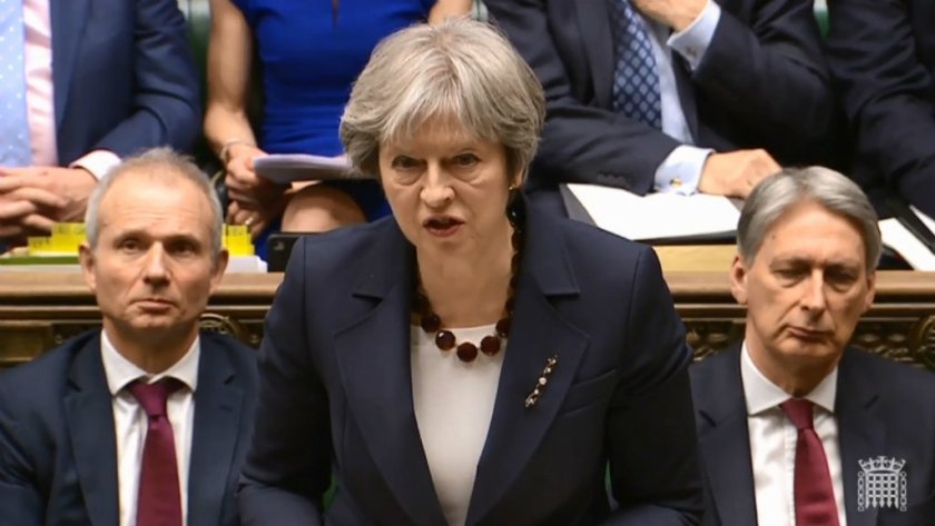 Theresa May speaking at the House of Commons on March 14, 2018