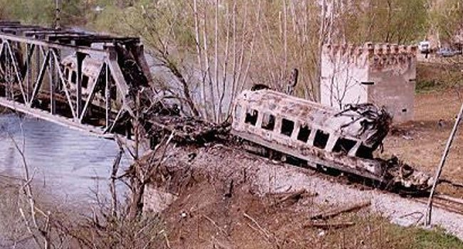 A Serbian civil train, bombarded by NATO aviation at Grdelica bridge on Apr 12, 1999. At least 15 passengers were burnt alive.