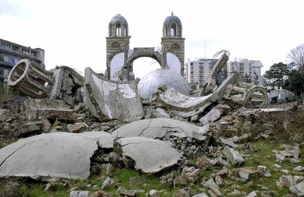 The ruins of a Serbian Orthodox cathedral in Djakovica (Kosovo), blown up in July 1999.