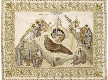 The icon of Christmas, embroidered by the sisters of Alexander Nevsky Novotikhvin monastery in Ekaterinburg