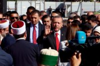 Turkey President Recep Tayyip Erdogan hails Albanian Muslims at the inauguration ceremony of the Namazgja Mosque, May 2015