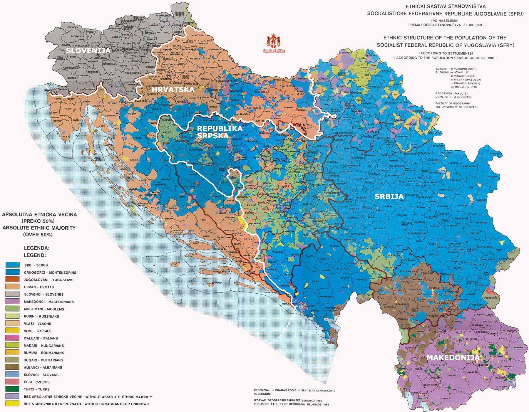Ethnic map of Socialist Yugoslavia according to 1981 census.
