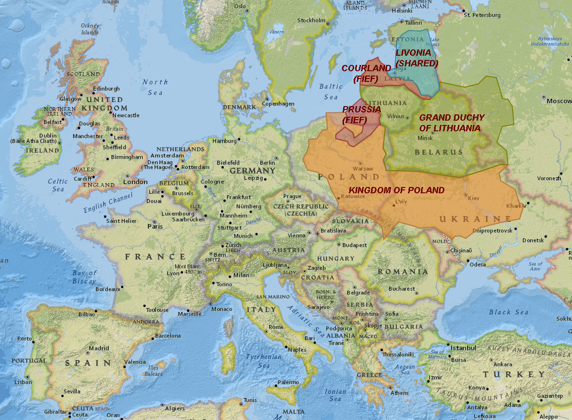 Polish-Lithuanian Commonwealth at its highest territorial extent (1616-1657) superimposed on modern European state boundaries