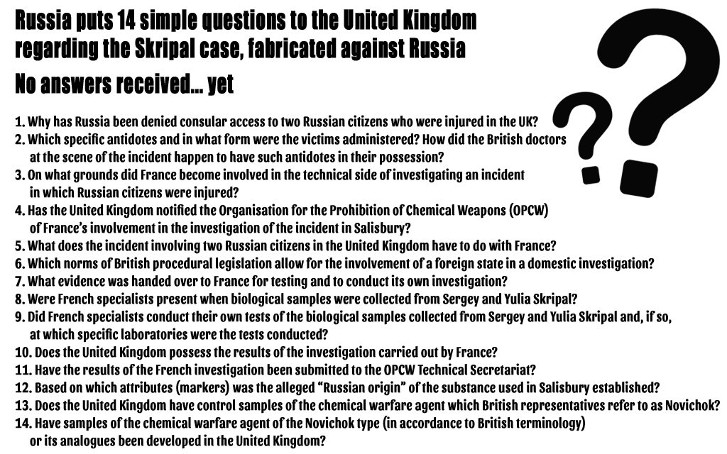 Russia puts 14 simple questions to the UK regarding the Skripal case