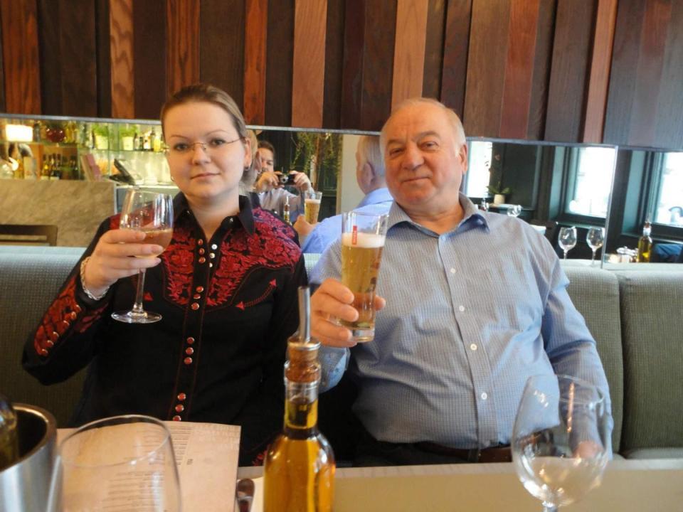 Sergey Skripal with his daughter Yulia in their favorite Zizzi restaurant in Salisbury.