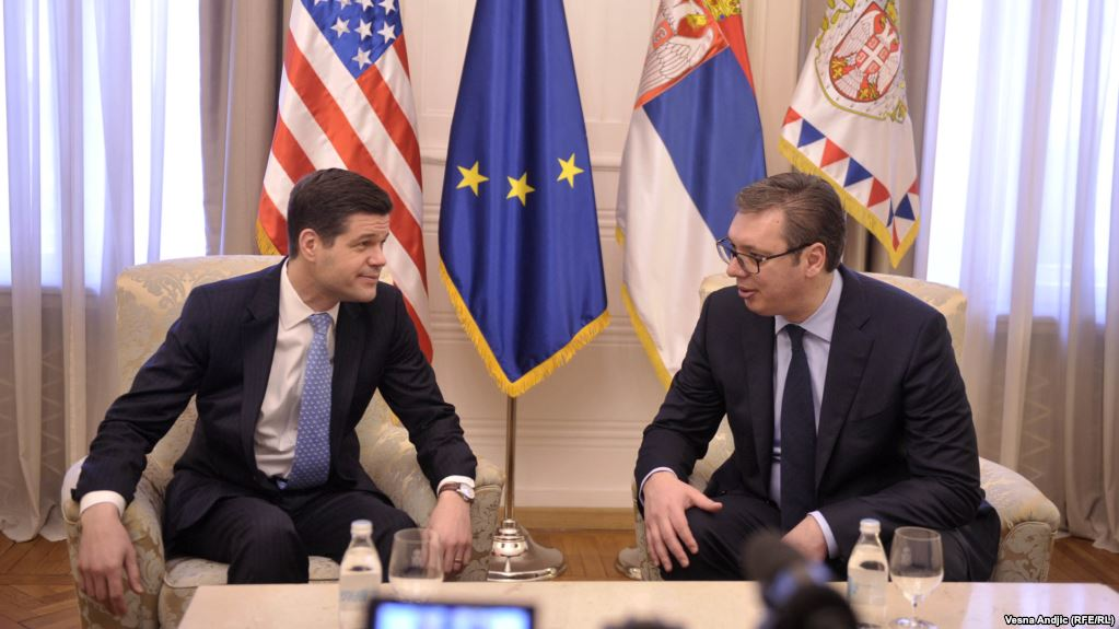 U.S. Assistant Secretary of State for European Affairs Wess Mitchell (left) and Serbian President Aleksandar Vucic in Belgrade on March 14.