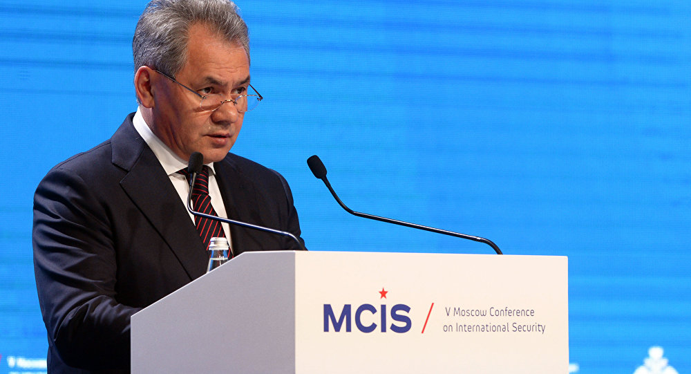 Russian Minister of Defence Serhei Shoigu speaking at the Moscow Conference for International Security in April 2018